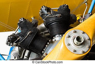 Prop PLane Airplane Nose Cone Engine Cylinders Vintage Transport
