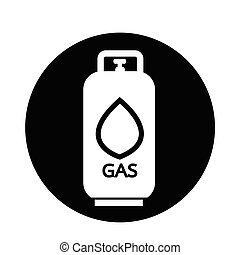 propaan, pictogram, gas, vloeistof
