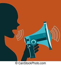 propaganda., 女, 叫ぶこと, 扇動, デモンストレーション, megaphone., スピーチ, rally.