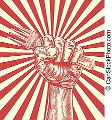 propaganda, gabel, holzschnitt, faust, hand