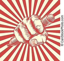 propaganda, holzschnitt, bleistift, faust, hand