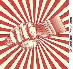 propaganda, holzschnitt, pinsel, faust, hand