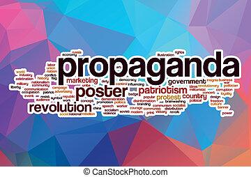 propaganda, ord, moln, med, abstrakt, bakgrund