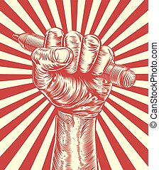 Propaganda Pencil Woodcut Hand