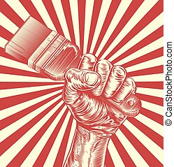 propaganda, pinsel, holzschnitt, faust, hand