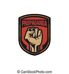 propaganda, plakat, stil, revolution, faust hat erhoben, luft