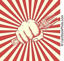 Propaganda Poster Fork Woodcut Fist