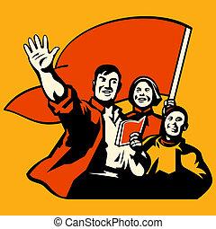 "Propaganda poster - ""Knowledge is power"" propaganda workers..."