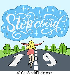 Propaganda poster Stop covid 19, girl and a large cloud whith the inscription