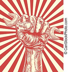propaganda, schraubenschlüssel, holzschnitt, faust, hand