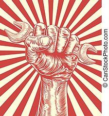 Propaganda Spanner Woodcut Fist Hand