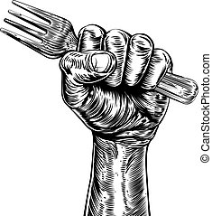 An original design of a fist holding a fork in a vintage woodcut style