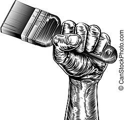 Propaganda Woodcut Fist Hand Holding Paintbrush