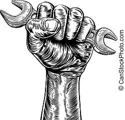 Propaganda Woodcut Fist Hand Holding Spanner