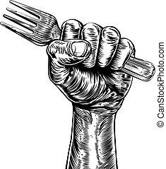 Propaganda Woodcut Fist Hand Holding Fork - An original...