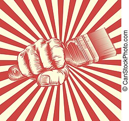 Propaganda Woodcut Paintbrush Fist Hand