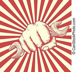 Propaganda Woodcut Spanner Fist Hand