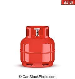 propan, gaz, ilustracja, wektor, mały, cylinder.