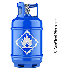 Blue propane cylinders with compressed gas isolated on a white background