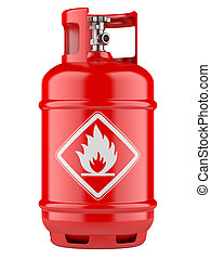 Propane cylinders with compressed gas - Red propane...
