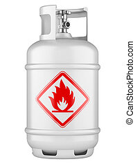 White propane cylinders with compressed gas isolated on a white background