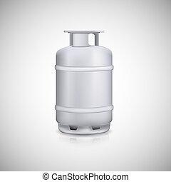 Propane gas balloon. Aluminum gas tank, gas container.