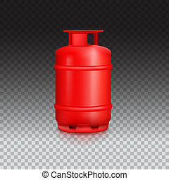 Propane gas balloon with reflexes. Red gas tank, gas container on transparent background, 3D illustration.