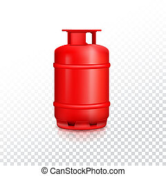 Propane gas balloon with reflexes. Red gas tank icon, container for gas, isolated on transparent background, 3D illustration