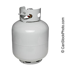 Propane gas cylinder, isolated on w - Propane gas cylinder...