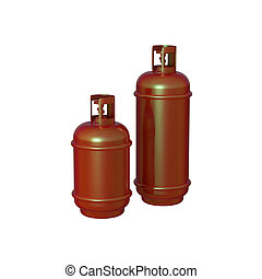 Propane gas cylinder isolated on white background . 3d illustration