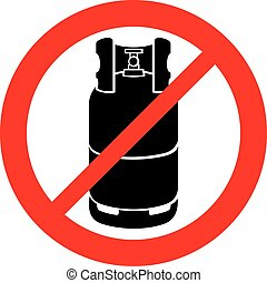 propane gas cylinder not allowed sign