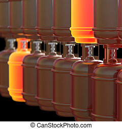 Propane gas cylinders isolated on black background . 3d illustration