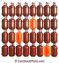 Propane gas cylinders isolated on white background . 3d illustration