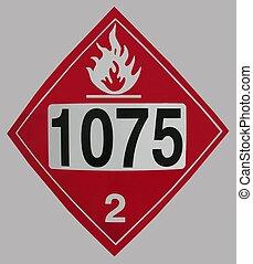 Propane gas placard warning of danger.