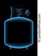 Propane tank (3D xray blue transparent)