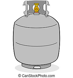 Cartoon illustration of a grey propane tank for outdoor use