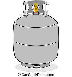 Propane tank - Cartoon illustration of a grey propane tank...