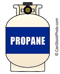 Propane Tank - Twenty pound propane tank with blue label
