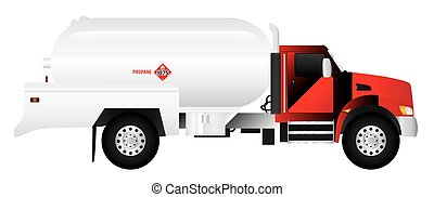 Propane Truck - A red propane truck with a large white...