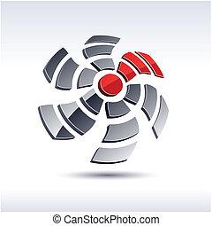 propeller, abstrakt, icon., 3d
