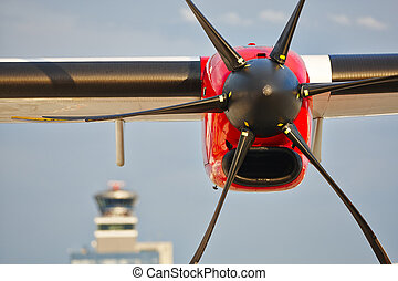 Propeller airplane at the airport, Prague, Czech Republic