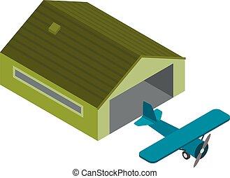 Propeller airplane icon, isometric style