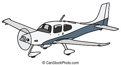 Propeller airplane - Hand drawing of a propeller airplane -...