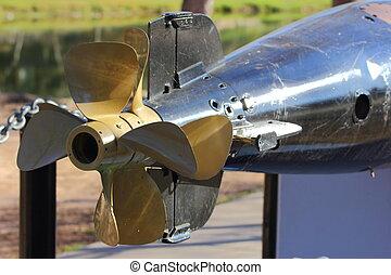 Propeller - Close up of a submarine or torpedo propeller