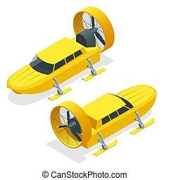 propeller-driven, recovery., isométrico, esquís, ayuda, emergencia, médico, entregas, correo, aislado, ilustración, corriente, utilizado, vector, plano de fondo, aerosled, aerosani, motonieve, blanco, comunicaciones