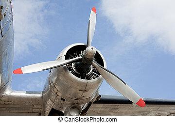 Propeller engine of vintage airplane DC-3 - Propeller engine...