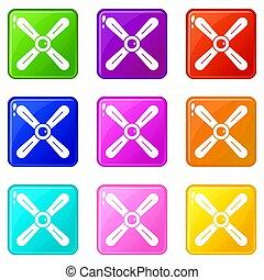 Propeller icons 9 set