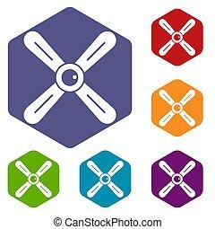 Propeller icons set hexagon