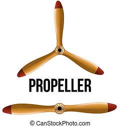 propeller., legno, aeroplano, set, classico
