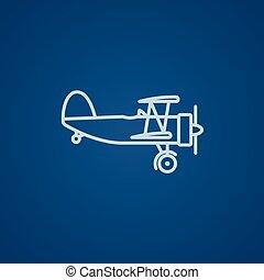 propeller, lijn, schaaf, icon.